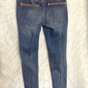 White House Black Market Jeans - WHBM Skimmer Faux Leather Trim Cropped Zip Jeans 8